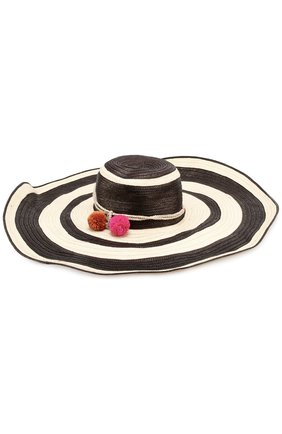 Соломенная шляпа с помпонами | Фото №1