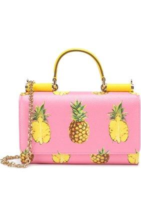 Сумка Sicily Von с принтом Dolce & Gabbana розового цвета | Фото №1