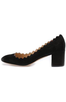 Женская замшевые туфли lauren с фигурным вырезом CHLOÉ черного цвета, арт. CH26230/E01 | Фото 2