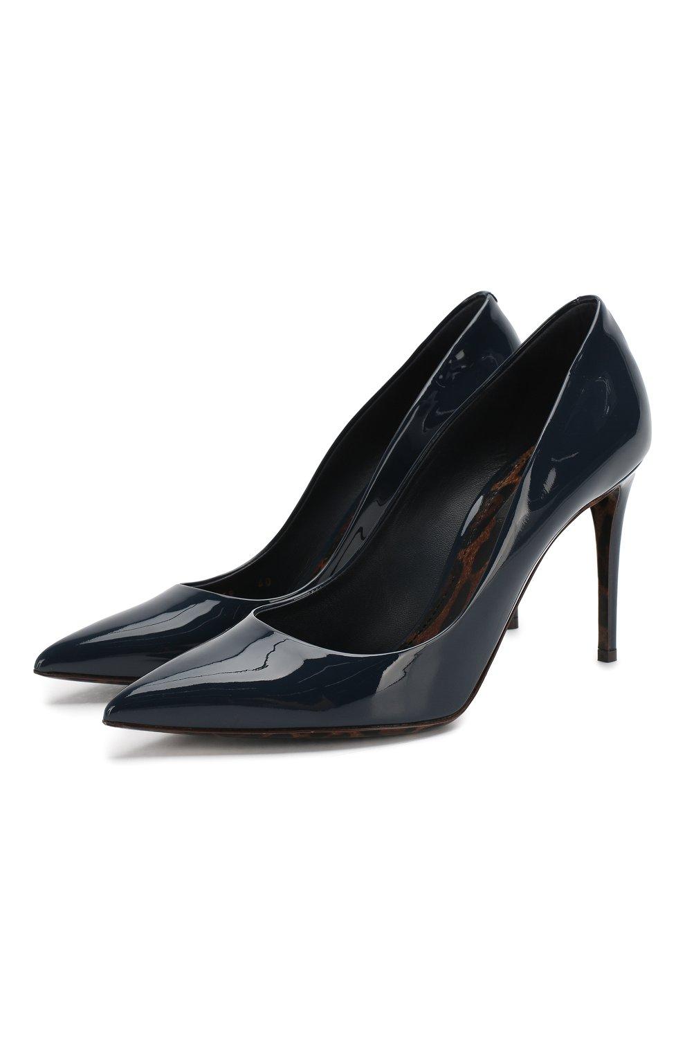 Женские кожаные туфли kate DOLCE & GABBANA темно-синего цвета, арт. 0112/CD0039/AC062 | Фото 1