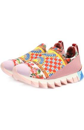 Комбинированные кроссовки Ibiza с принтом на рельефной подошве | Фото №1