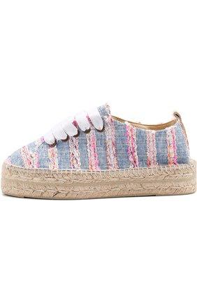 Текстильные эспадрильи на шнуровке Manebi голубые | Фото №1