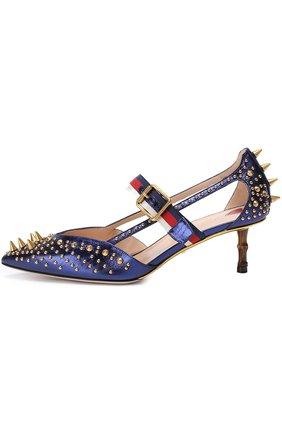Кожаные туфли Unia с шипами на декорированном каблуке | Фото №2