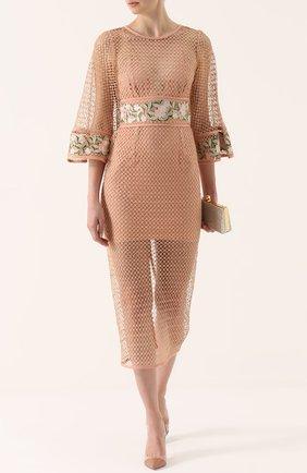 Полупрозрачное платье-миди с цветочной отделкой Alice McCall бежевое | Фото №1