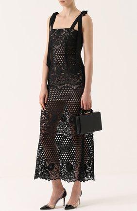 Полупрозрачное кружевное платье-миди с бантами Alice McCall черное | Фото №1