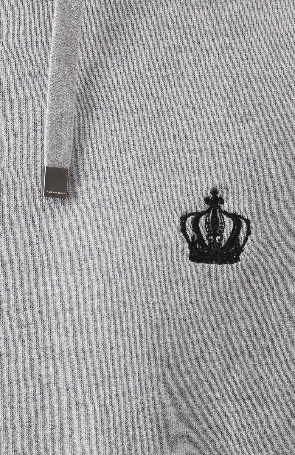 Хлопковая толстовка с капюшоном и контрастной отделкой Dolce & Gabbana серый   Фото №5