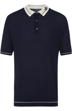 Шерстяное поло с короткими рукавами Dolce & Gabbana темно-синее   Фото №1