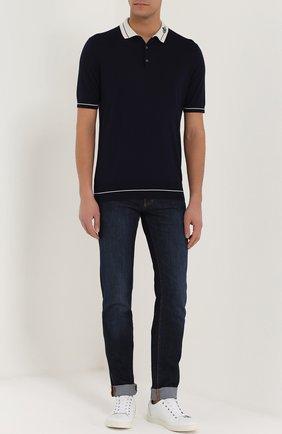 Шерстяное поло с короткими рукавами Dolce & Gabbana темно-синее   Фото №2