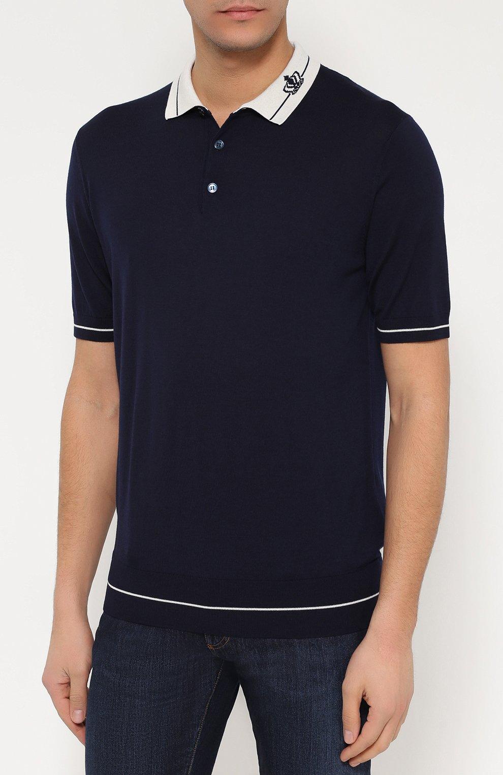 Шерстяное поло с короткими рукавами Dolce & Gabbana темно-синее   Фото №3