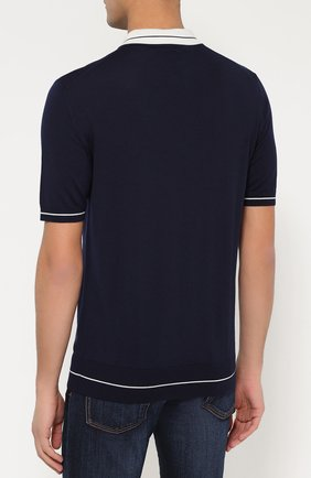 Шерстяное поло с короткими рукавами Dolce & Gabbana темно-синее   Фото №4