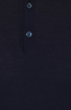 Шерстяное поло с короткими рукавами Dolce & Gabbana темно-синее   Фото №5