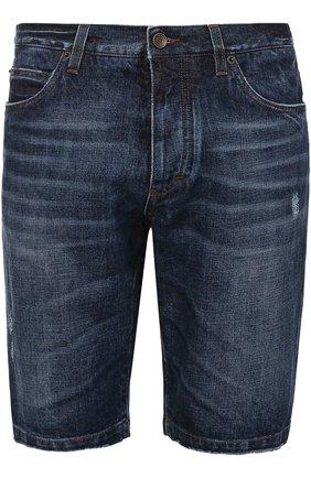 Джинсовые шорты с потертостями и нашивками | Фото №1
