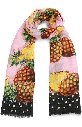 Кашемировый шарф с принтом Dolce & Gabbana разноцветный   Фото №1