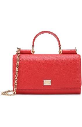 Сумка Sicily Von на цепочке Dolce & Gabbana красного цвета   Фото №1