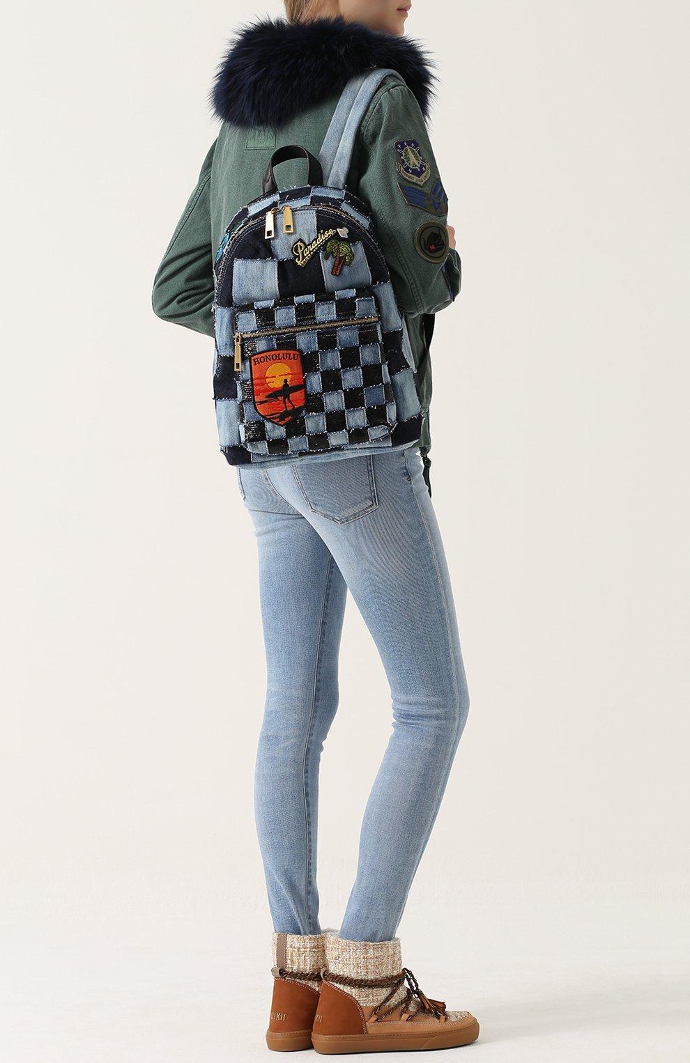 Рюкзак Biker из денима с нашивками | Фото №2