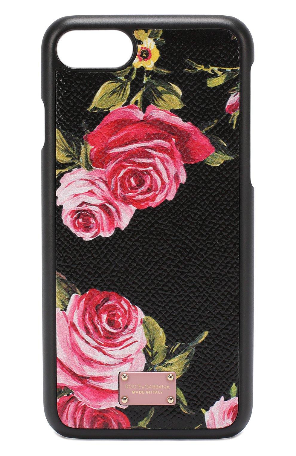 Кожаный чехол для iPhone 7 с цветочным принтом | Фото №1