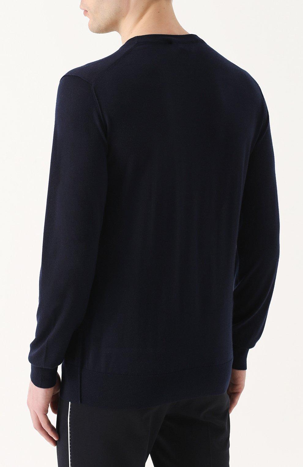 Кашемировый джемпер тонкой вязки с вышивкой на груди | Фото №4