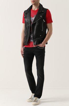 Кожаный жилет с косой молнией Musher черный   Фото №1