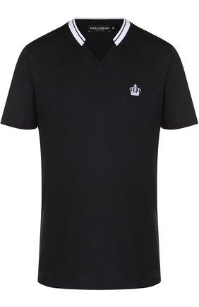 Хлопковая футболка с V-образным вырезом Dolce & Gabbana темно-синяя | Фото №1