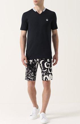 Хлопковая футболка с V-образным вырезом Dolce & Gabbana темно-синяя | Фото №2