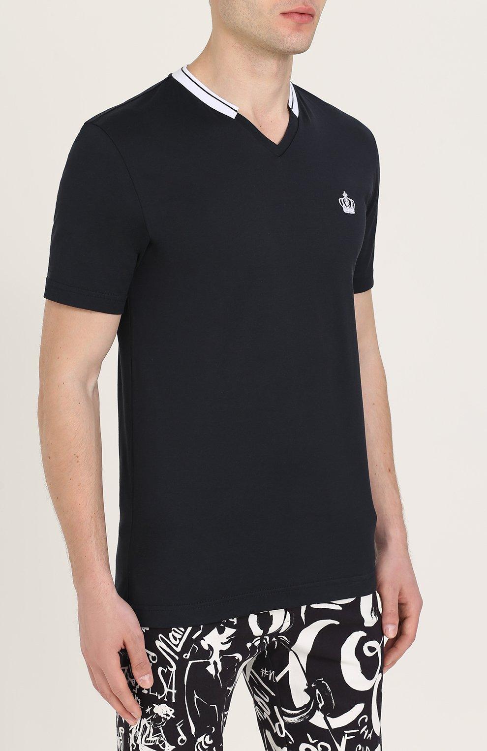 Хлопковая футболка с V-образным вырезом Dolce & Gabbana темно-синяя | Фото №3