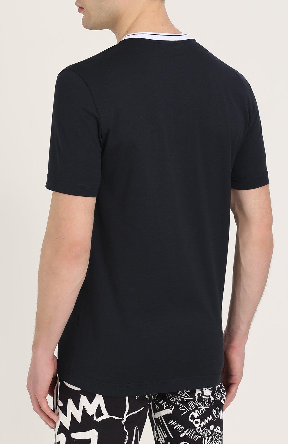 Хлопковая футболка с V-образным вырезом Dolce & Gabbana темно-синяя | Фото №4