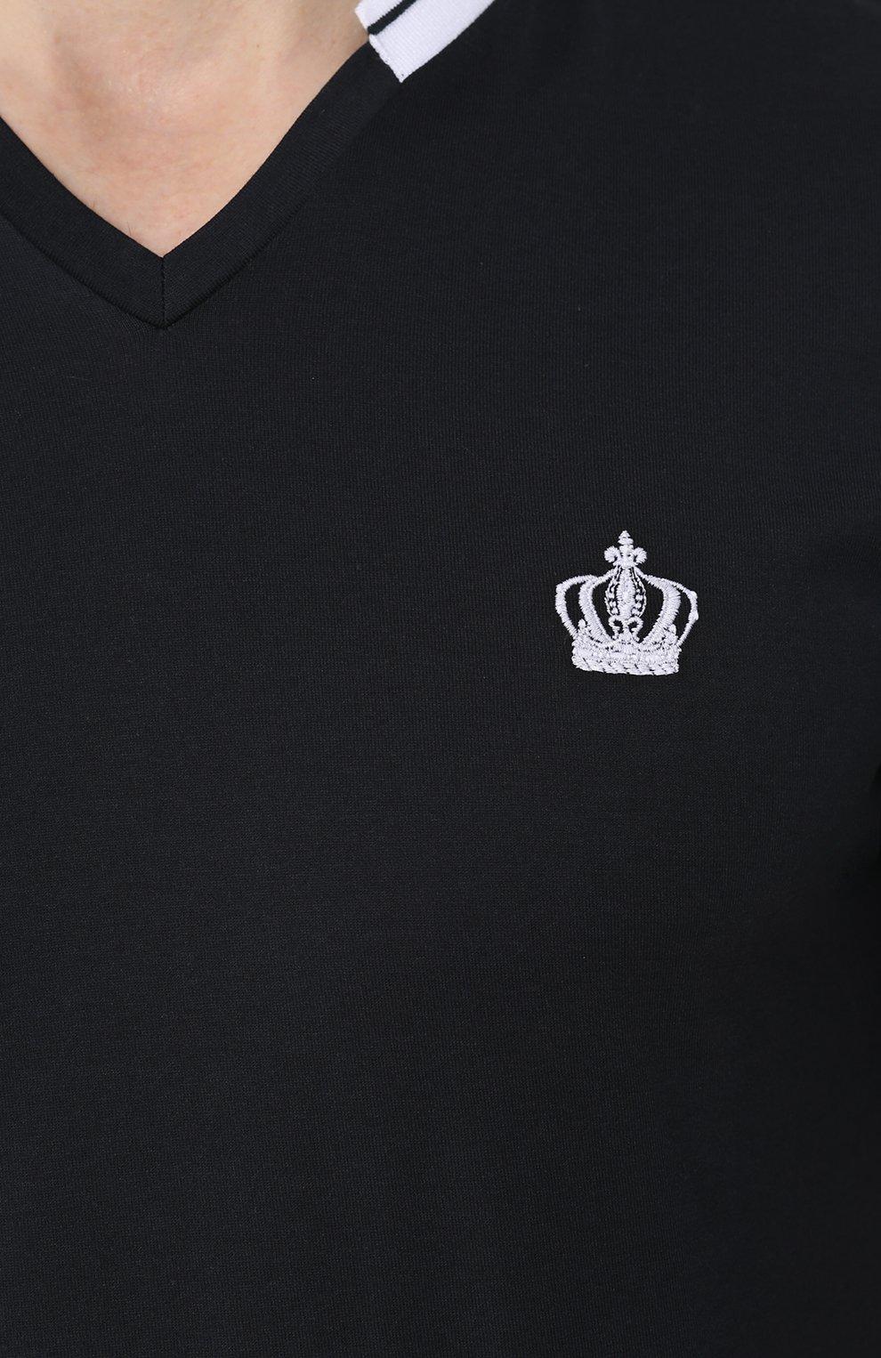 Хлопковая футболка с V-образным вырезом Dolce & Gabbana темно-синяя | Фото №5