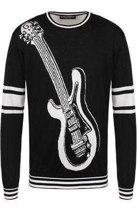 Шелковый джемпер с контрастным принтом Dolce & Gabbana черный | Фото №1