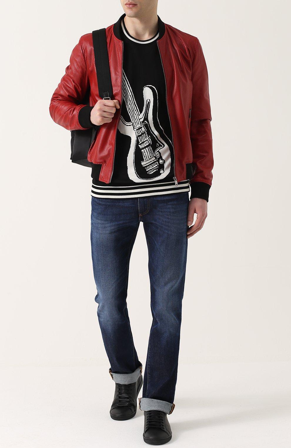 Шелковый джемпер с контрастным принтом Dolce & Gabbana черный | Фото №2