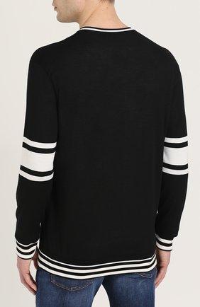 Шелковый джемпер с контрастным принтом Dolce & Gabbana черный | Фото №4