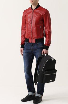 Кожаный бомбер на молнии с перфорацией Dolce & Gabbana красная | Фото №2
