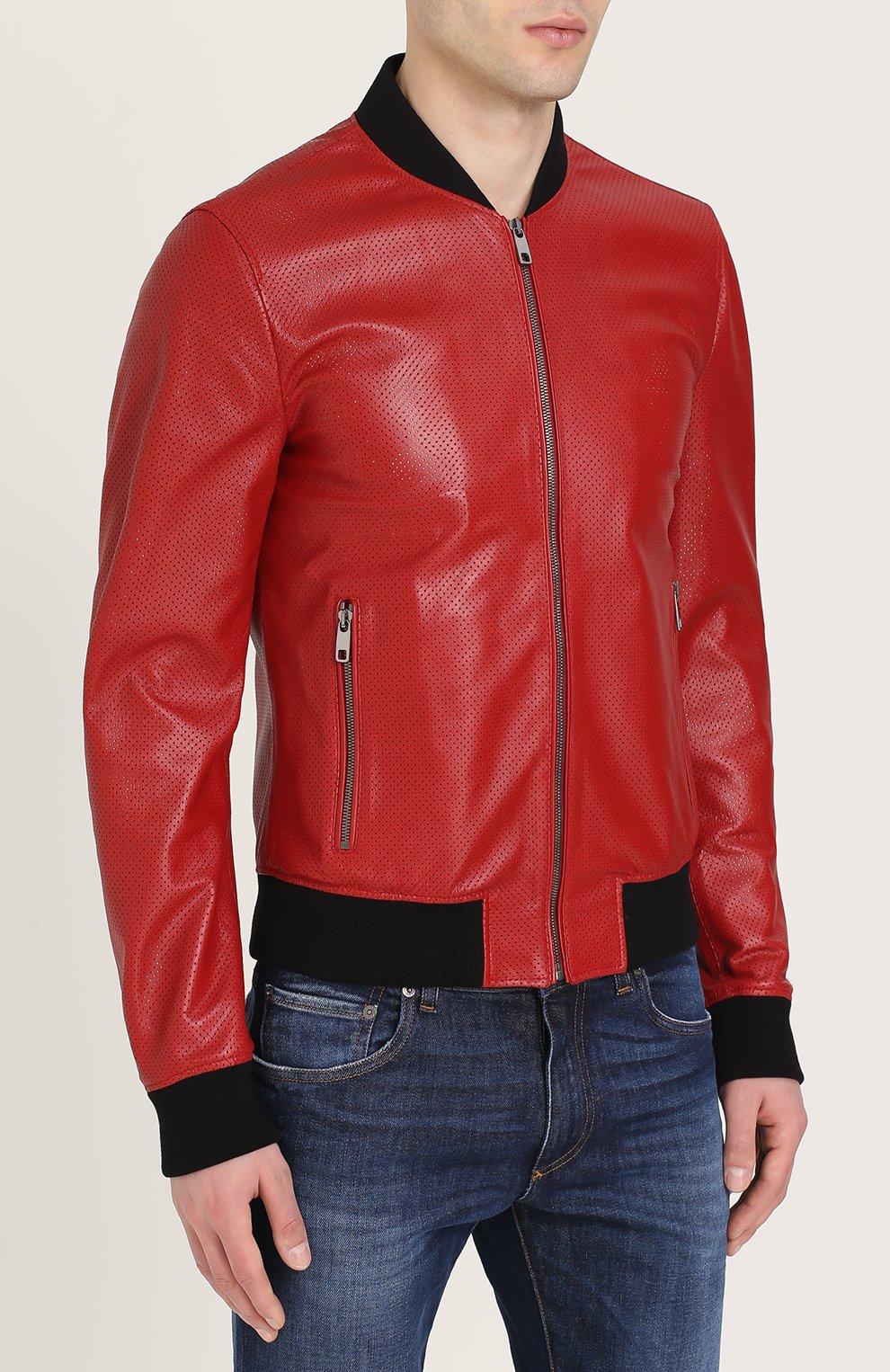 Кожаный бомбер на молнии с перфорацией Dolce & Gabbana красная | Фото №3