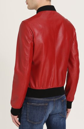 Кожаный бомбер на молнии с перфорацией Dolce & Gabbana красная | Фото №4