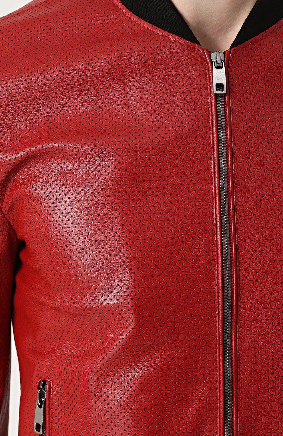 Кожаный бомбер на молнии с перфорацией Dolce & Gabbana красная | Фото №5