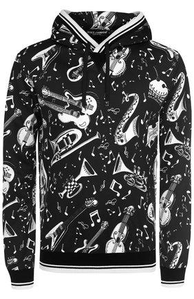 Хлопковая толстовка с принтом и капюшоном Dolce & Gabbana черно-белый | Фото №1