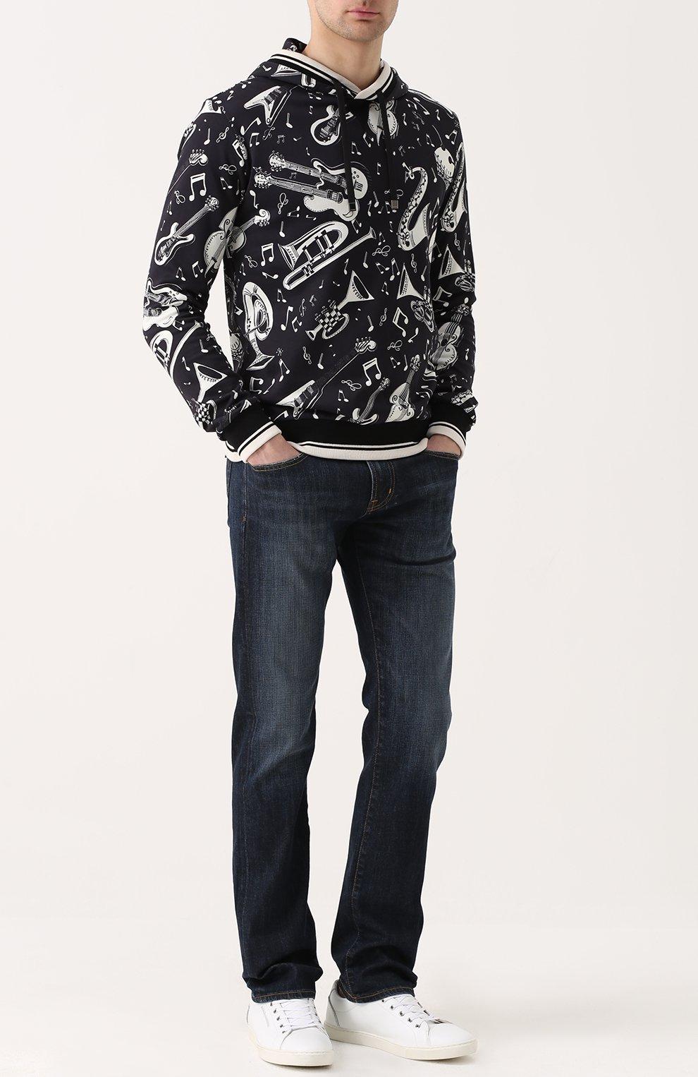 Хлопковая толстовка с принтом и капюшоном Dolce & Gabbana черно-белый | Фото №2