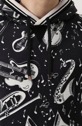 Хлопковая толстовка с принтом и капюшоном Dolce & Gabbana черно-белый | Фото №5