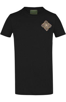 Хлопковая футболка с аппликацией Amen черная | Фото №1