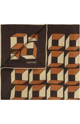 Мужской шелковый платок с узором TOM FORD темно-бежевого цвета, арт. 9TF81TF312 | Фото 1
