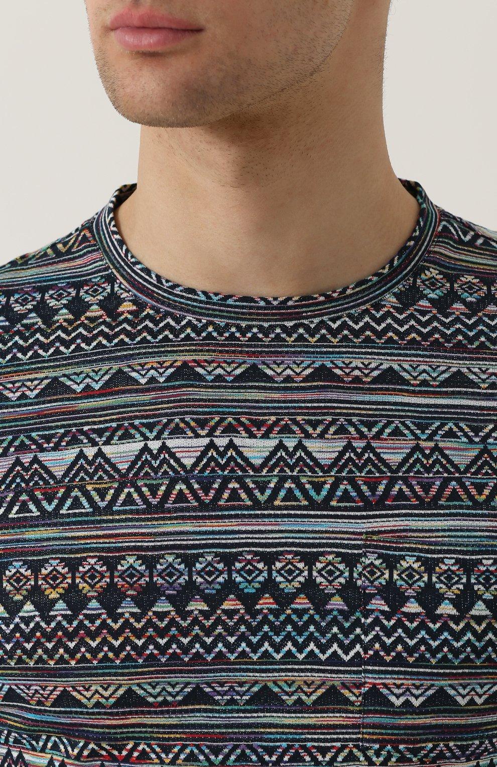 Хлопковая футболка с принтом Missoni синяя | Фото №5