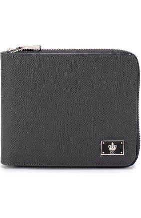 Кожаное портмоне на молнии с отделениями для кредитных карт и монет Dolce & Gabbana темно-серого цвета | Фото №1