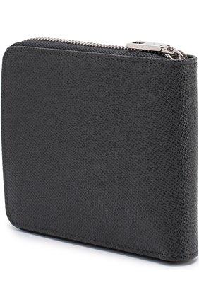 Кожаное портмоне на молнии с отделениями для кредитных карт и монет Dolce & Gabbana темно-серого цвета | Фото №2
