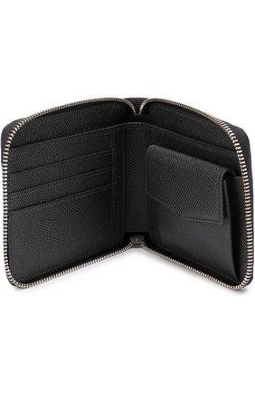 Кожаное портмоне на молнии с отделениями для кредитных карт и монет Dolce & Gabbana темно-серого цвета | Фото №3