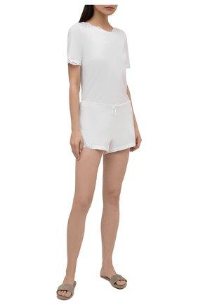 Женская хлопковая футболка LA PERLA белого цвета, арт. 0021083 | Фото 2