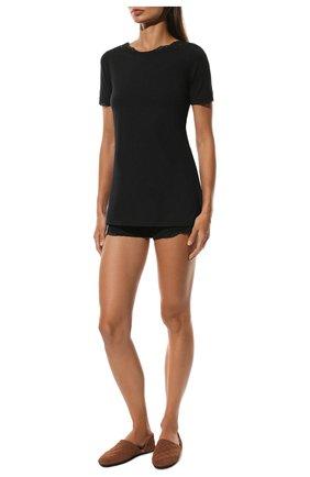 Женская хлопковая футболка LA PERLA черного цвета, арт. 0021083 | Фото 2