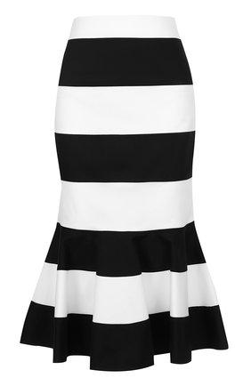 Юбка годе в контрастную полоску Dolce & Gabbana черно-белая | Фото №1