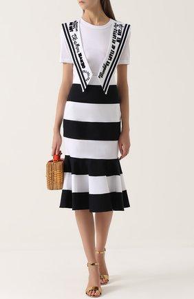 Юбка годе в контрастную полоску Dolce & Gabbana черно-белая | Фото №2