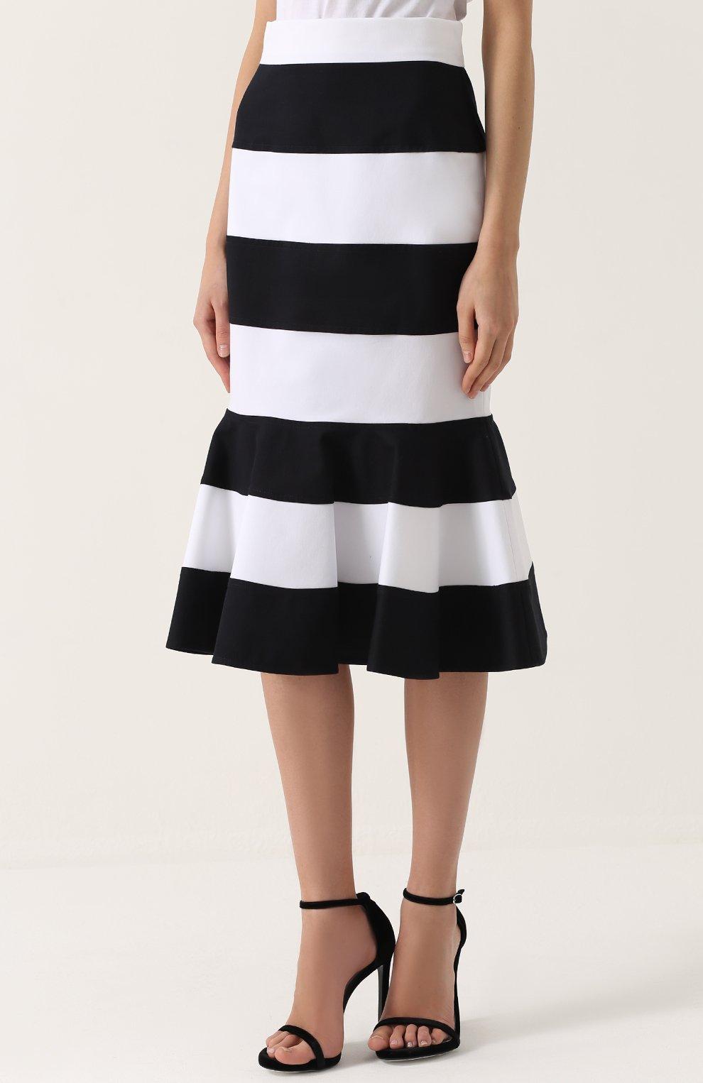 Юбка годе в контрастную полоску Dolce & Gabbana черно-белая | Фото №3