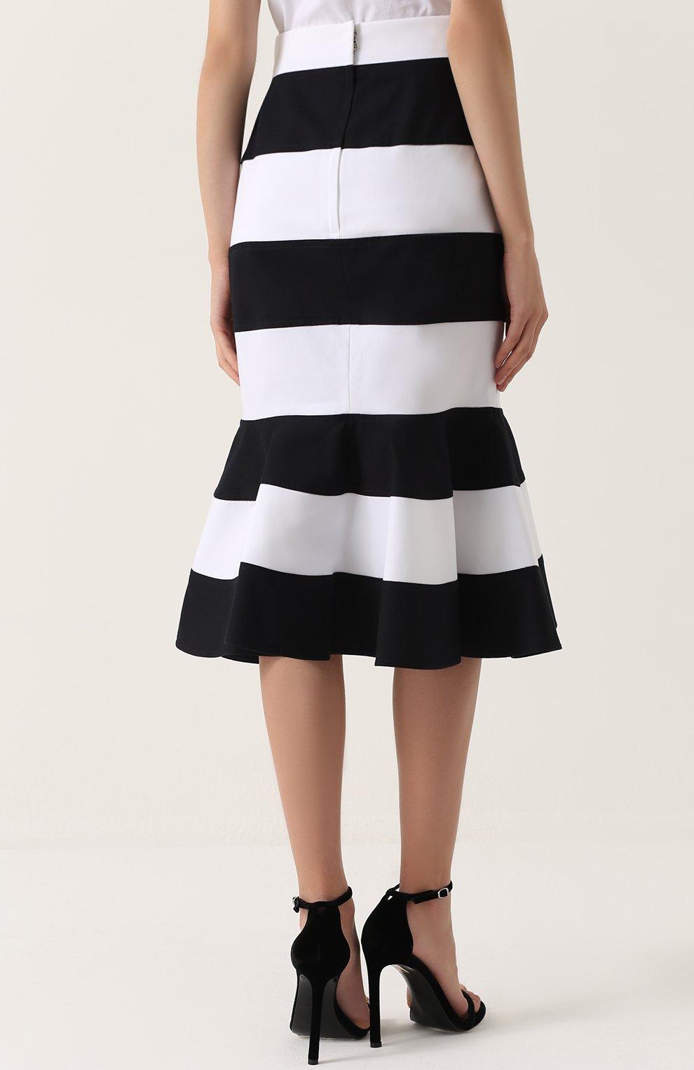 Юбка годе в контрастную полоску Dolce & Gabbana черно-белая | Фото №4