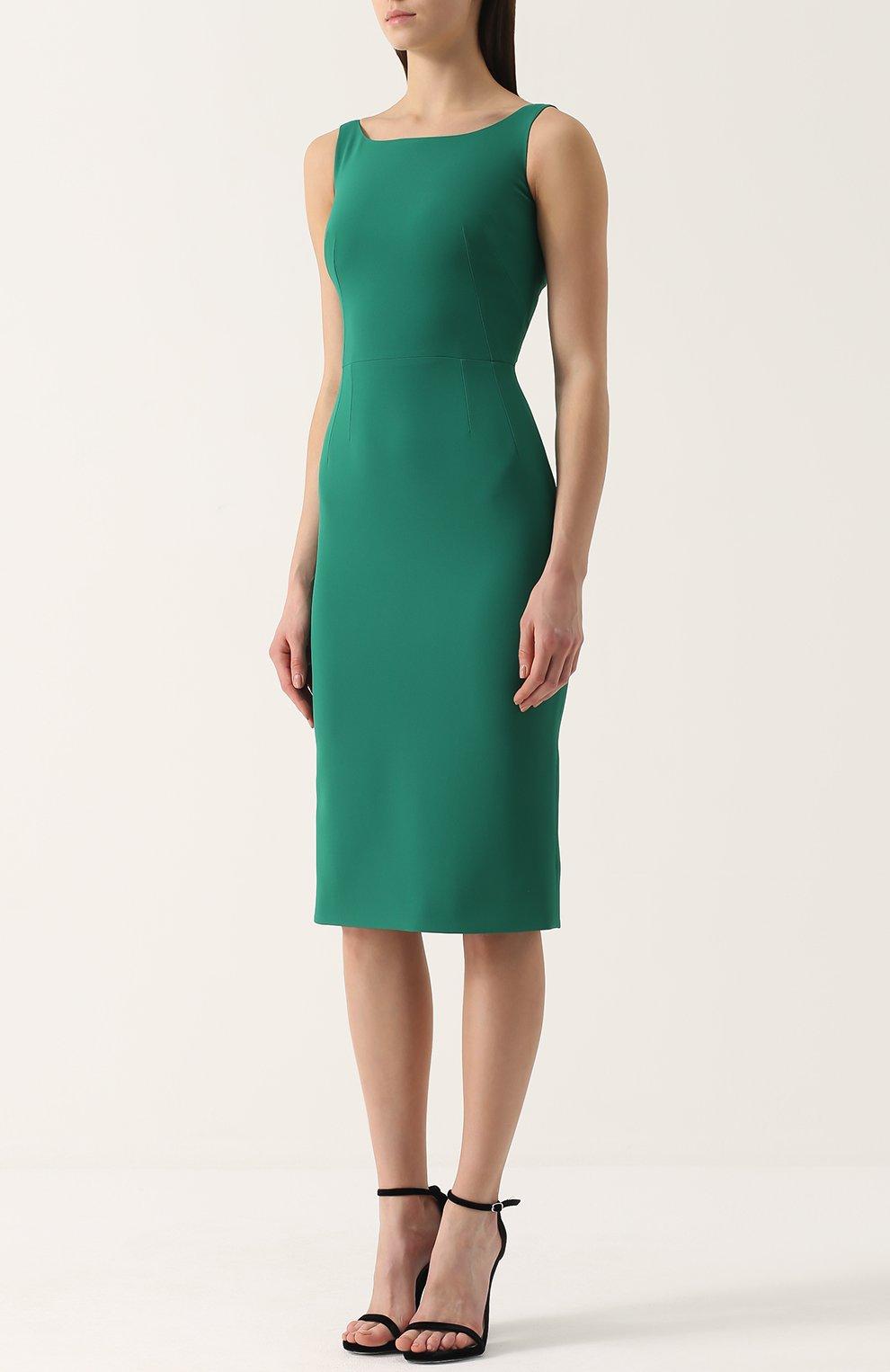 Приталенное платье-миди без рукавов Dolce & Gabbana зеленое | Фото №3